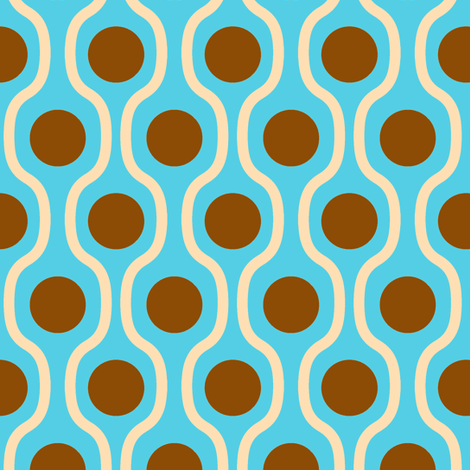 waves and dots blue-brown fabric by tailorfairy on Spoonflower - custom fabric