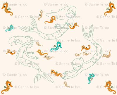 Playful mermaids, orange