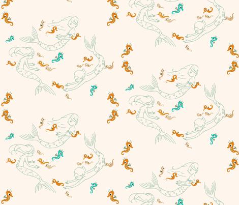 Playful mermaids, orange fabric by sanneteloo on Spoonflower - custom fabric