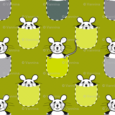 White mouse in pocket (Green)
