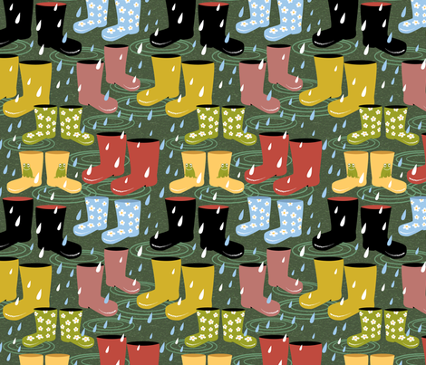 Wellies and Galoshes in the Rain fabric by vinpauld on Spoonflower - custom fabric