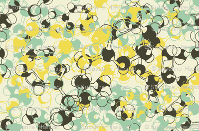 Molecules on cream yellow