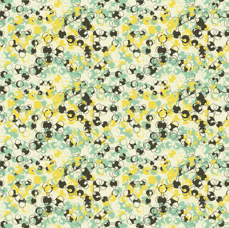 Molecules on cream yellow fabric by susiprint on Spoonflower - custom fabric