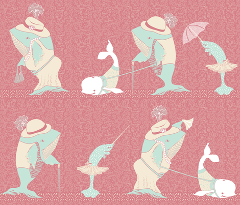 Whales Walking on a Sunday Afternoon fabric by glimmericks on Spoonflower - custom fabric