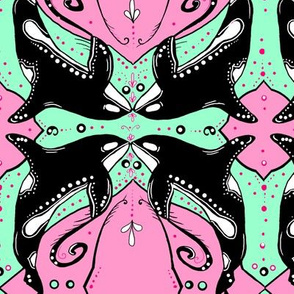 Ornate Orcas, black, pink, mint, white