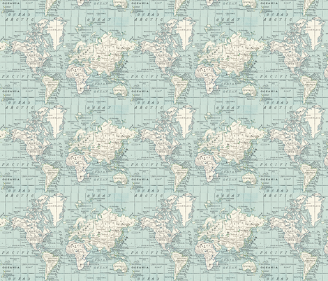 soft blue and cream repeat fabric by aftermyart on Spoonflower - custom fabric