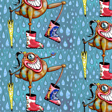 Cyclopian Beauty in her Galoshes/Wellies large scale fabric by amy_g on Spoonflower - custom fabric