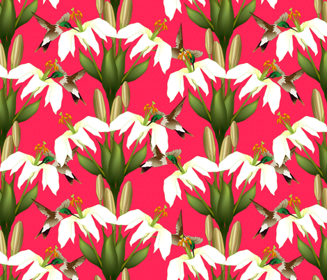 Lily_Damask_3 fabric by glimmericks on Spoonflower - custom fabric