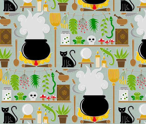 Witch's lab fabric by analinea on Spoonflower - custom fabric