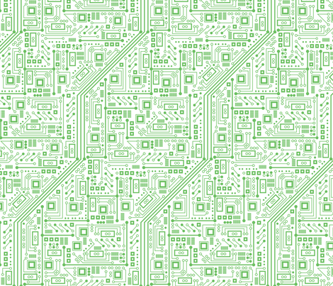 Robot Circuit Board (White and Green) fabric by robyriker on Spoonflower - custom fabric