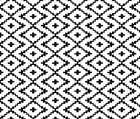 black on white VERTICAL  southwest diamonds fabric by fable_design on Spoonflower - custom fabric