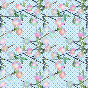 Tiny Painted Cut Paper Pink and Blue Dogwood