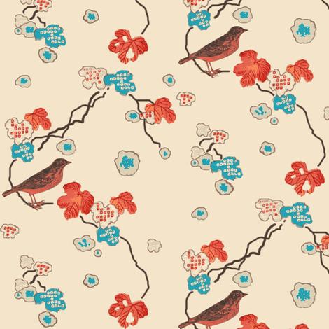 robin in the maple tree fabric by keweenawchris on Spoonflower - custom fabric