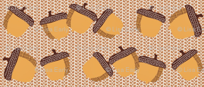Acorns on woven background