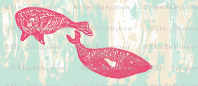 pink whales in a swirling sea