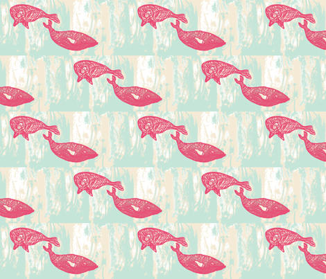 pink whales in a swirling sea fabric by yellowee on Spoonflower - custom fabric