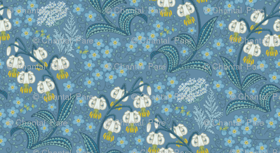White Martagon Lilies (blue)