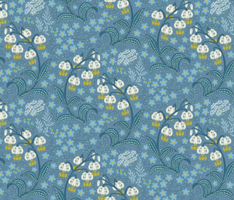 White Martagon Lilies (blue) fabric by chantal_pare on Spoonflower - custom fabric