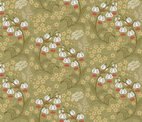 White Martagon Lilies (olive)  fabric by chantal_pare on Spoonflower - custom fabric