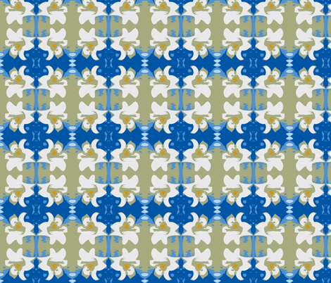 Easter Lily - Blue Version fabric by joeysworld on Spoonflower - custom fabric