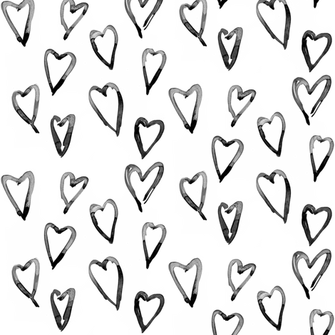 large hearts black fabric by erinanne on Spoonflower - custom fabric