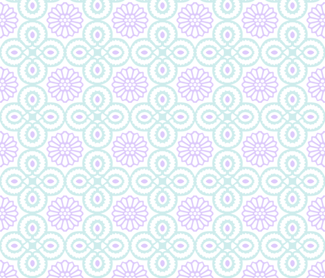 Yasmine Tile Print in Lavender/Duck egg blue fabric by torie_jayne on Spoonflower - custom fabric