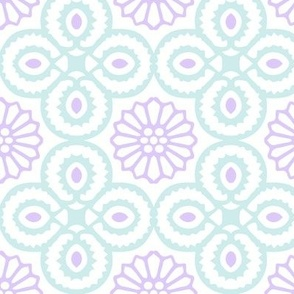 Yasmine Tile Print in Lavender/Duck egg blue