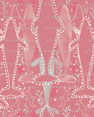 Whales on Dusty Rose