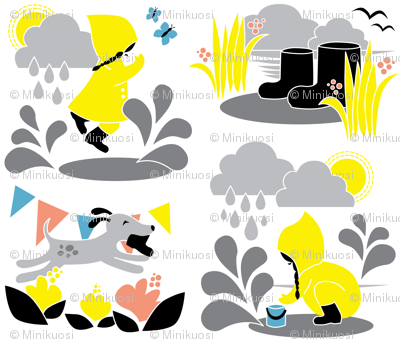 Water and fun! / Playful Spring Season with Raindrops and Flowers for Kids Yellow and Grey / Children Playing Outside