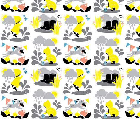 Water and fun! / Playful Spring Season with Raindrops and Flowers for Kids Yellow and Grey / Children Playing Outside fabric by minikuosi on Spoonflower - custom fabric