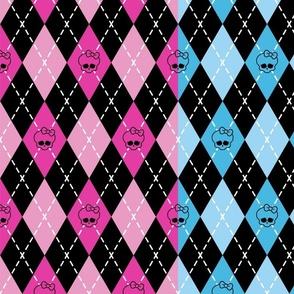 monster high - pink-blue-purple rhombus (argyle)