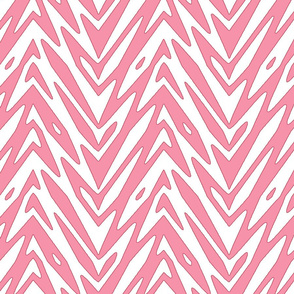 feathered zigzag in pink and white
