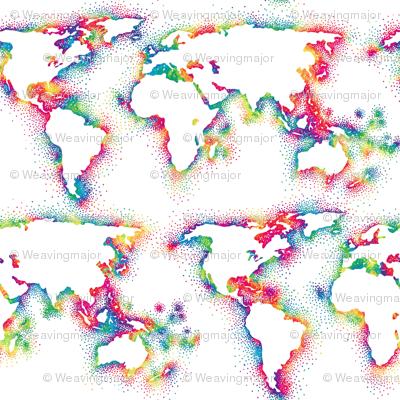 Mini World Map.Rainbow Mini World Map Wallpaper Weavingmajor Spoonflower