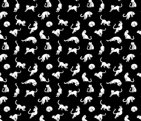 Kitties - White on black fabric by xinling on Spoonflower - custom fabric