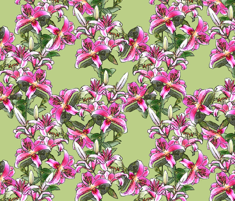 Pink_Lily_Field fabric by khowardquilts on Spoonflower - custom fabric