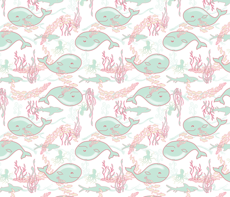 The Happy Whale fabric by vinpauld on Spoonflower - custom fabric