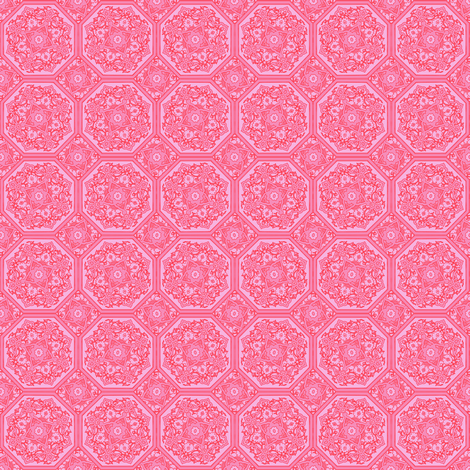 Persian Tile ~ Pink & Vermilion ~ Doll Scale  fabric by peacoquettedesigns on Spoonflower - custom fabric