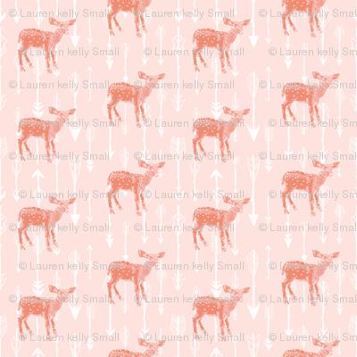 Deer and Arrows on Peachy Pink