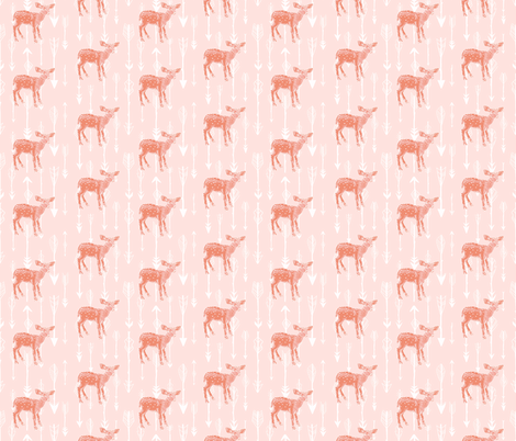 Deer and Arrows on Peachy Pink fabric by thistleandfox on Spoonflower - custom fabric