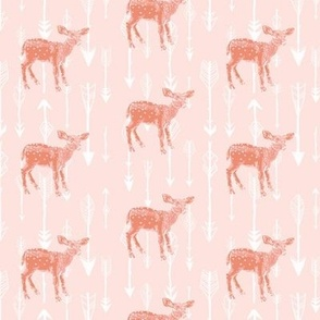 Deer and Arrows on Peachy Pink