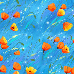 Breezy poppies teal