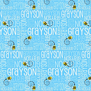 Personalised Name Fabric - Bees in Blue