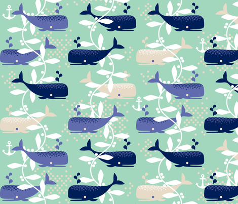 Whale Watching (blue) fabric by cerigwen on Spoonflower - custom fabric