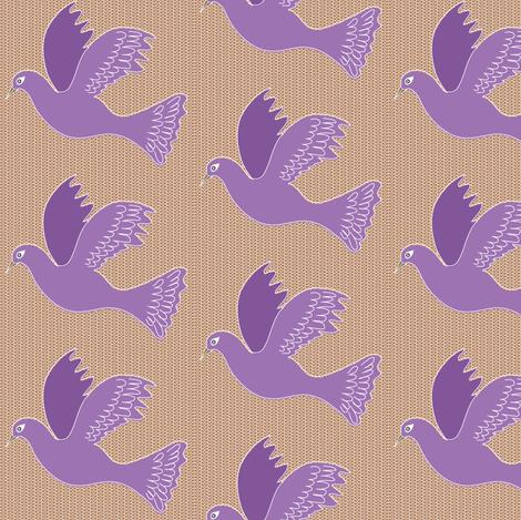 Purple bird on Basketweave fabric by vanillabeandesigns on Spoonflower - custom fabric