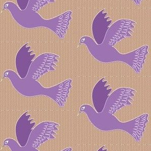 Purple bird on Basketweave