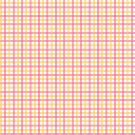 Picnic Gingham pink and yellow fabric by jillbyers on Spoonflower - custom fabric