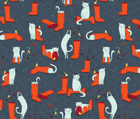 Cats and Wellies Bright fabric by badger&bee on Spoonflower - custom fabric