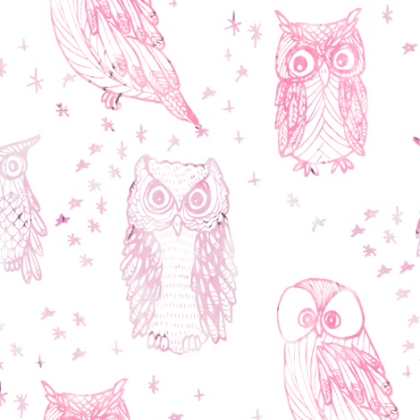 Watercolor Owl in Ombre Orchid fabric by emilysanford on Spoonflower - custom fabric