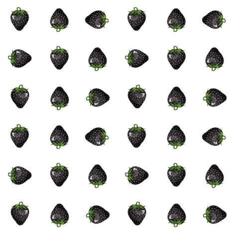 Black Strawberries fabric by blacklilypie on Spoonflower - custom fabric