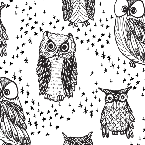 Little Owl in White fabric by emilysanford on Spoonflower - custom fabric